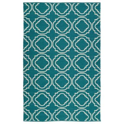 Brisa Teal 9 ft. x 12 ft. Indoor/Outdoor Reversible Area Rug