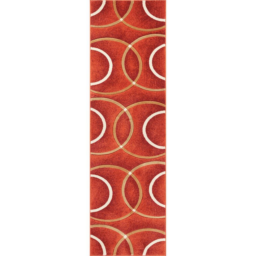 Brooklyn Chester Orange 3 ft. x 10 ft. Modern Geometric Circles Runner Rug