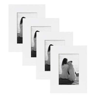 Museum 4 in. x 6 in. White Picture Frame (Set of 4)