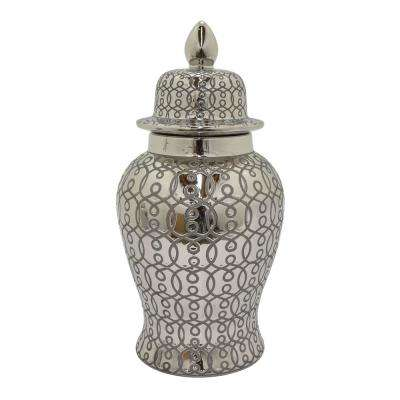 25 in. Silver Ceramic Temple Jar
