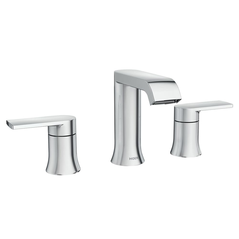 Moen Genta 8 In Widespread 2 Handle Bathroom Faucet In Chrome 84763 The Home Depot