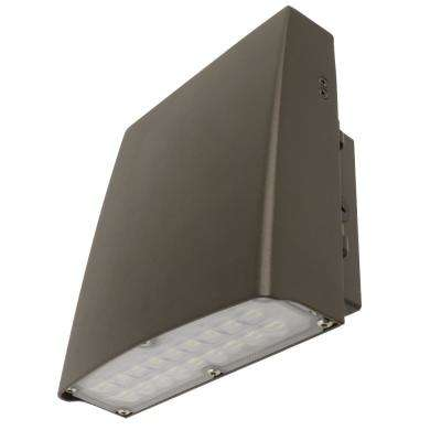 Commercial Grade 9 in. 30-Watt Bronze Outdoor Integrated LED Security Adjustable Wall Pack Light (4-Pack)