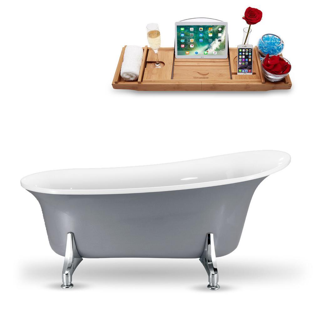 66.9 in. Acrylic Fiberglass Clawfoot Non-Whirlpool Bathtub in Grey
