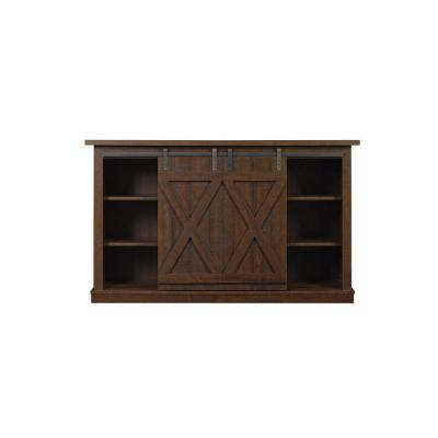 Cottonwood 54 in. Sawcut Espresso Wood TV Stand Fits TVs Up to 60 in. with Storage Doors