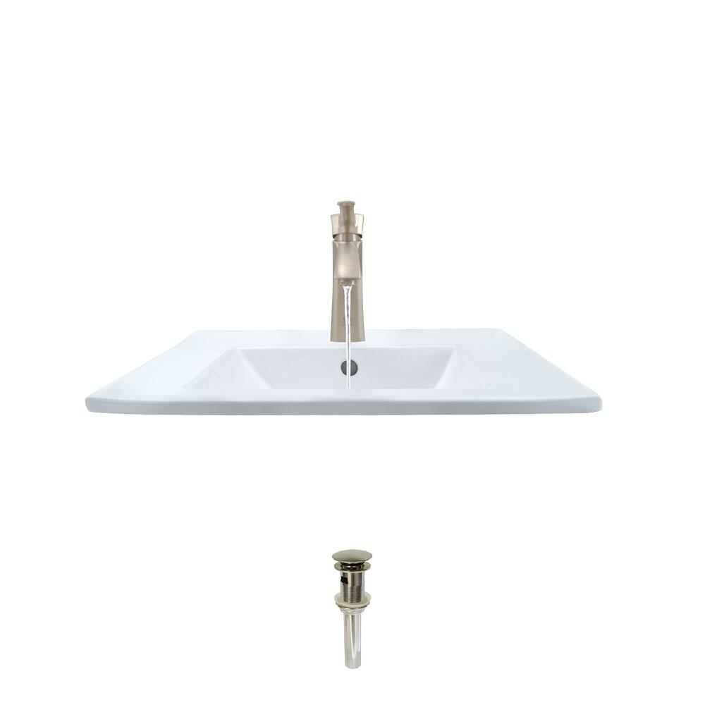 MR Direct Porcelain Vessel Sink in White with 725 Faucet and Pop-Up Drain in Brushed Nickel