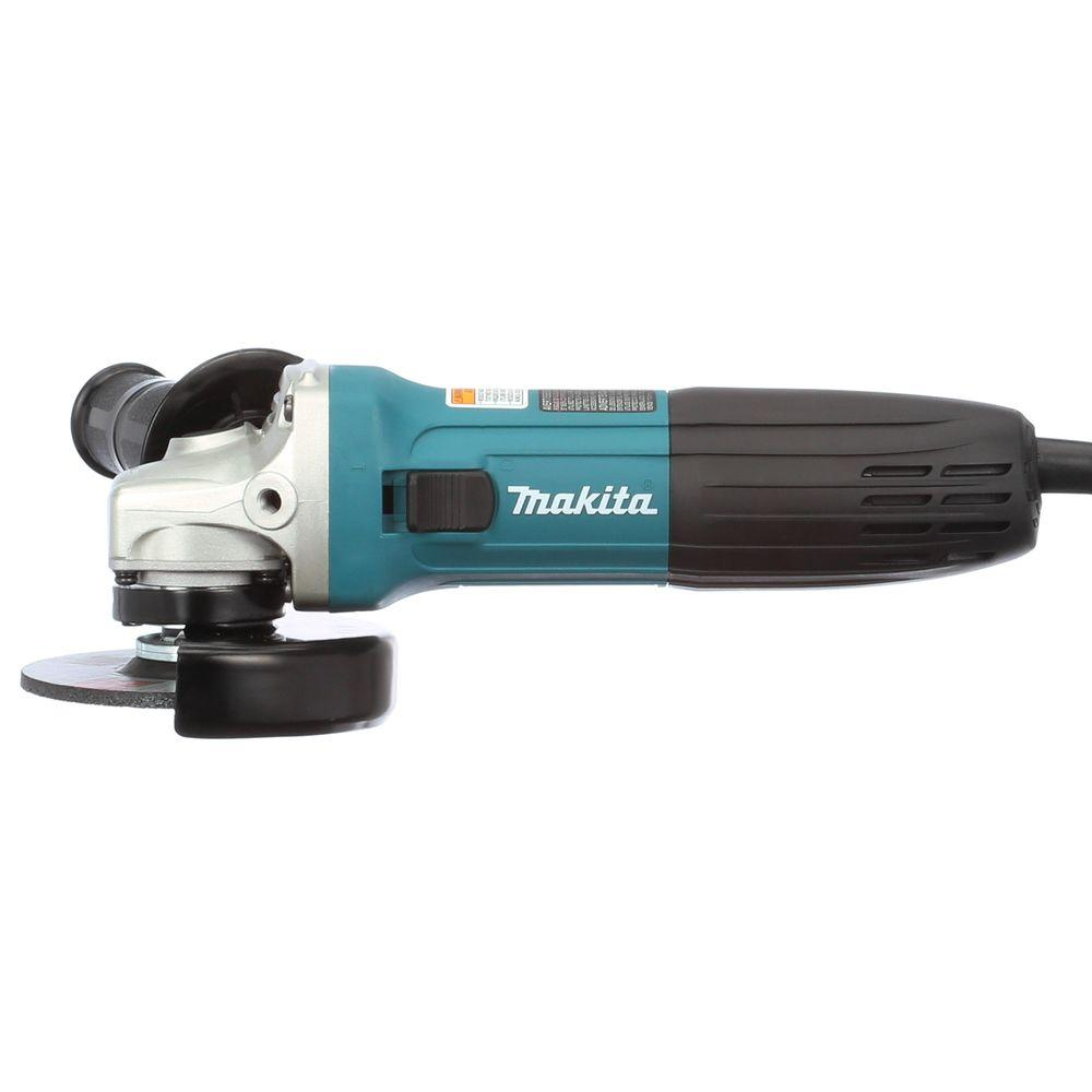 Makita 6 Amp 4 in. Corded Lightweight Angle Grinder with Grinding Wheel, Wheel Guard, Side Handle, Hard Case