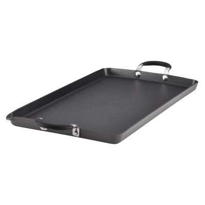 Momentum Hard-Anodized Nonstick 18 in. x 10 in. Double Burner Griddle, Gray