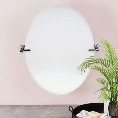 21 in. W x 24 in. H Oval Pivoting Beveled Frameless Mirror Chrome