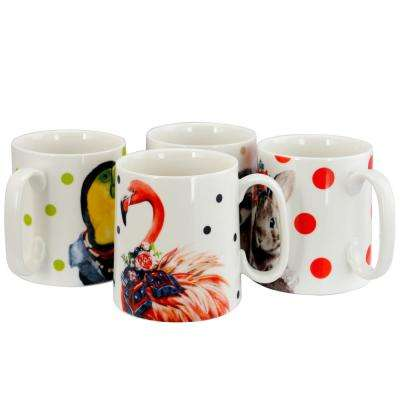 Tropical Assorted Designs Animal 15.6 oz. Cup (Set of 4)
