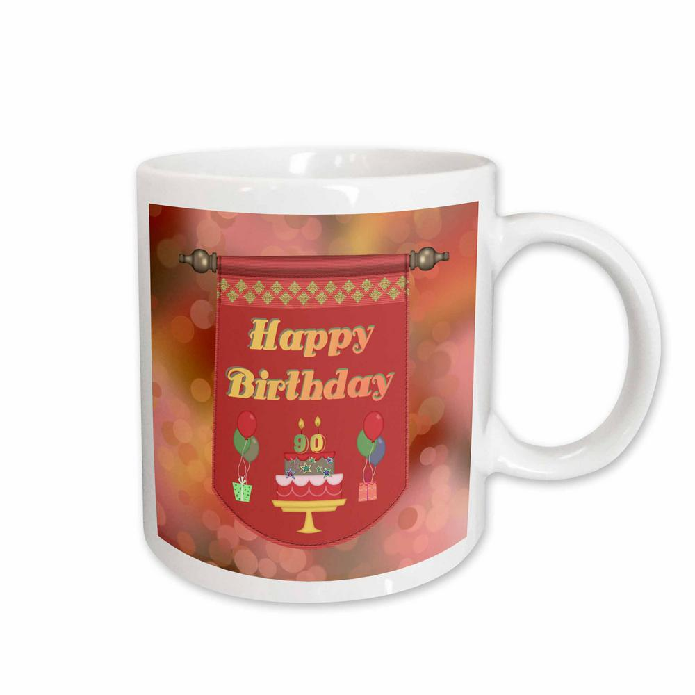 3dRose Beverly Turner Birthday Design Happy 90Th Banner Cake With Gifts And Balloons 11 Oz White Ceramic Coffee Mug 186536 1