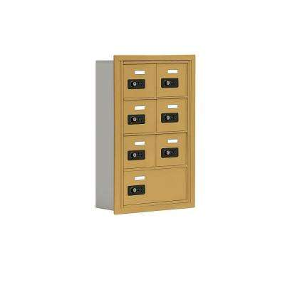 19000 Series 17.5 in. x 25.5 in. x 5.75 in. Aluminum 6 A / 1 B Doors R-Mount Resettable Locks Cell Phone Locker in Gold