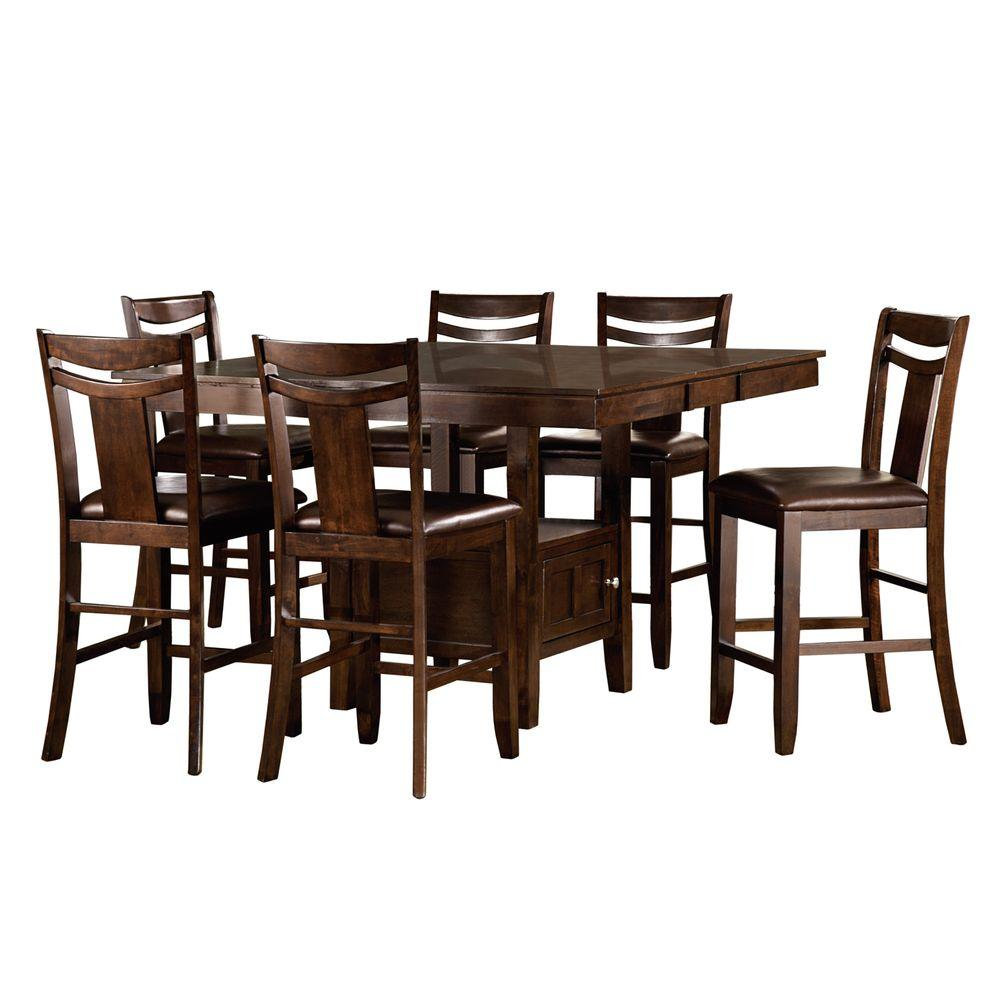 HomeSullivan Barrington 7-Piece Warm Brown Bar Table Set-402524 ...
