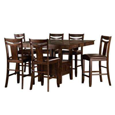 Barrington 7 Piece Warm Brown Bar Table Set