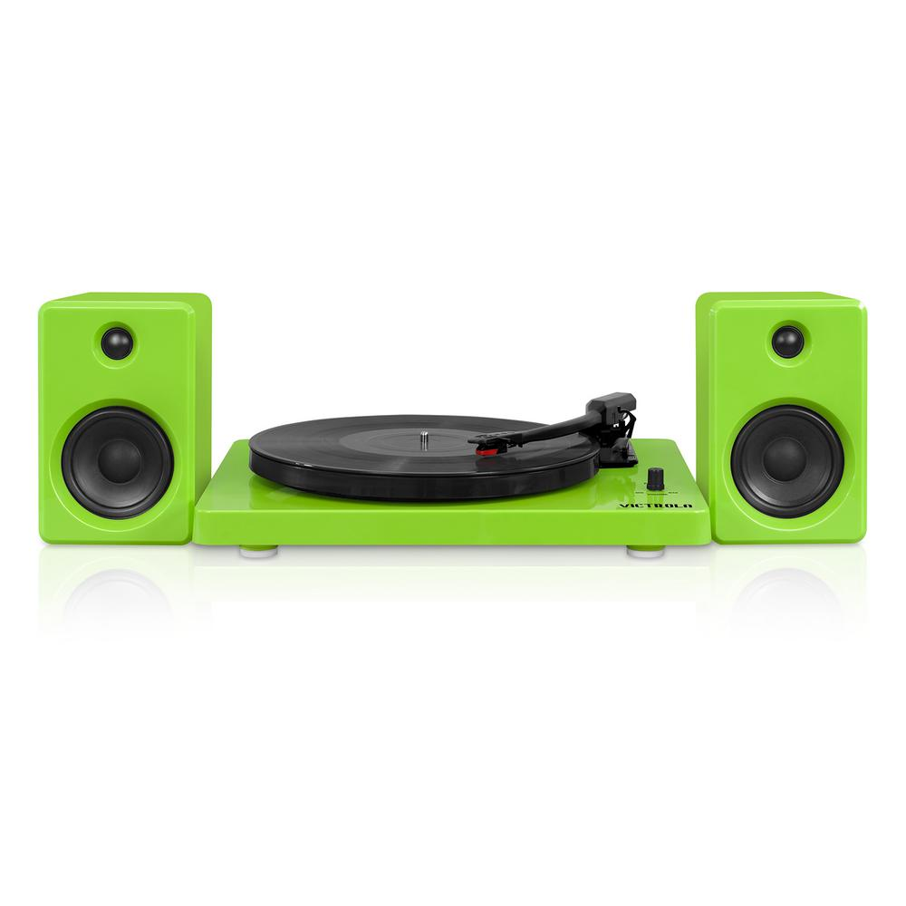 Modern Design 50-Watt Record Player with Bluetooth and 3-Speed Turntable in Green A modern design meets today's technology. This Bluetooth record player is elegantly simplistic in design, but overpowering in its performance. Dual stereo 50-Watt speakers blast music from either a 3-speed turntable (33 1/3, 45, 78 RPM) or built-in Bluetooth technology.