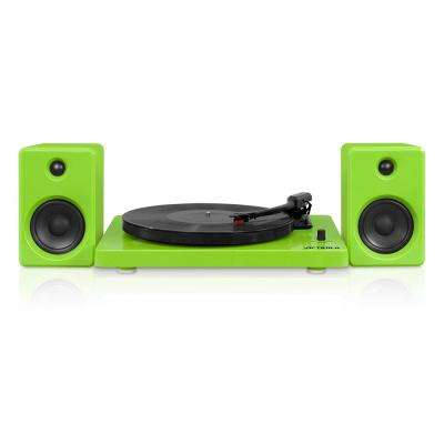 Modern Design 50-Watt Record Player with Bluetooth and 3-Speed Turntable in Green