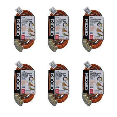25 ft. 14/3 Multi-Outlet Extension Cord in Orange and Gray (6-Pack)