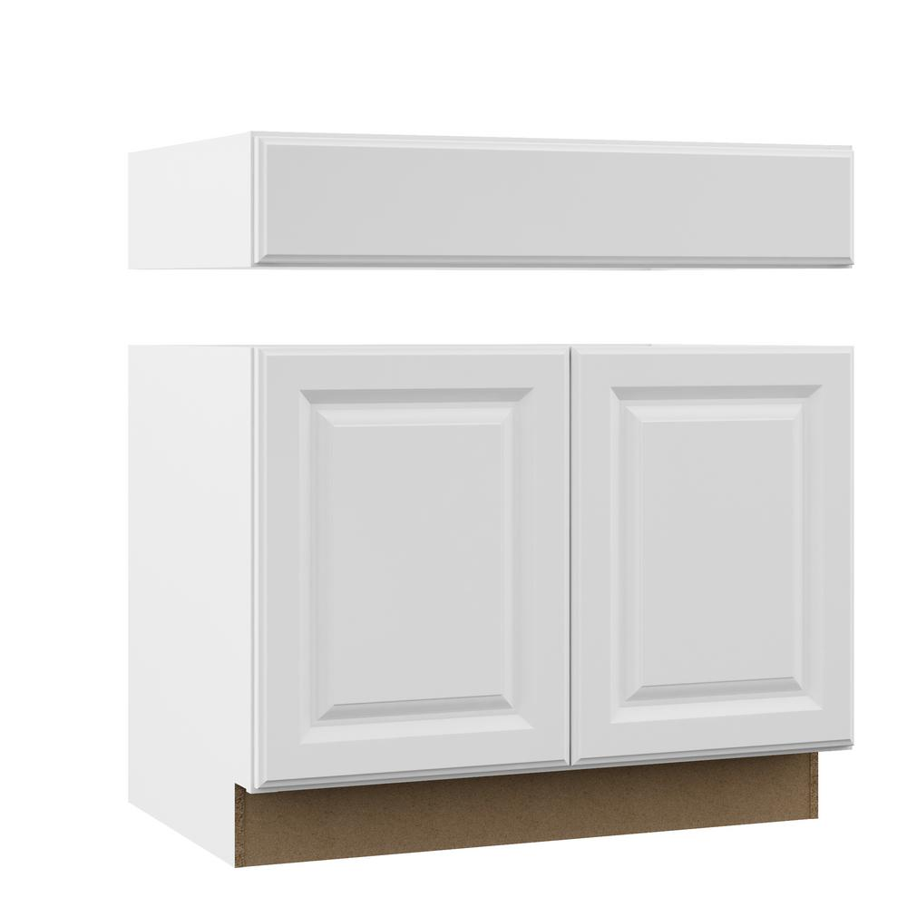 Hampton Assembled 36x34.5x24 in. Accessible Sink Base Kitchen Cabinet in Satin