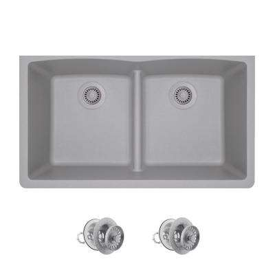 All-in-One Undermount Kitchen Sink Composite Granite 33 in. Low-Divide Equal Double Basin in Silver