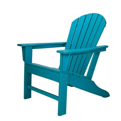 Blue Reclining HDPE Resin Wood Adirondack Chair