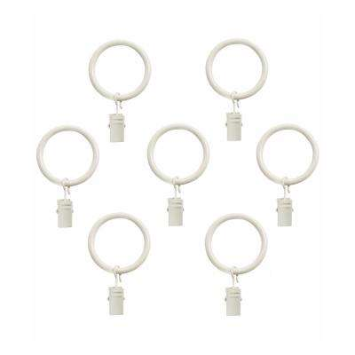Clip Rings for 1 in. Dia Curtain Rod in Bright White (7-Pack)
