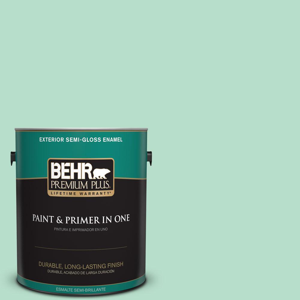 1-gal. #480C-3 Aqua Bay Semi-Gloss Enamel Exterior Paint