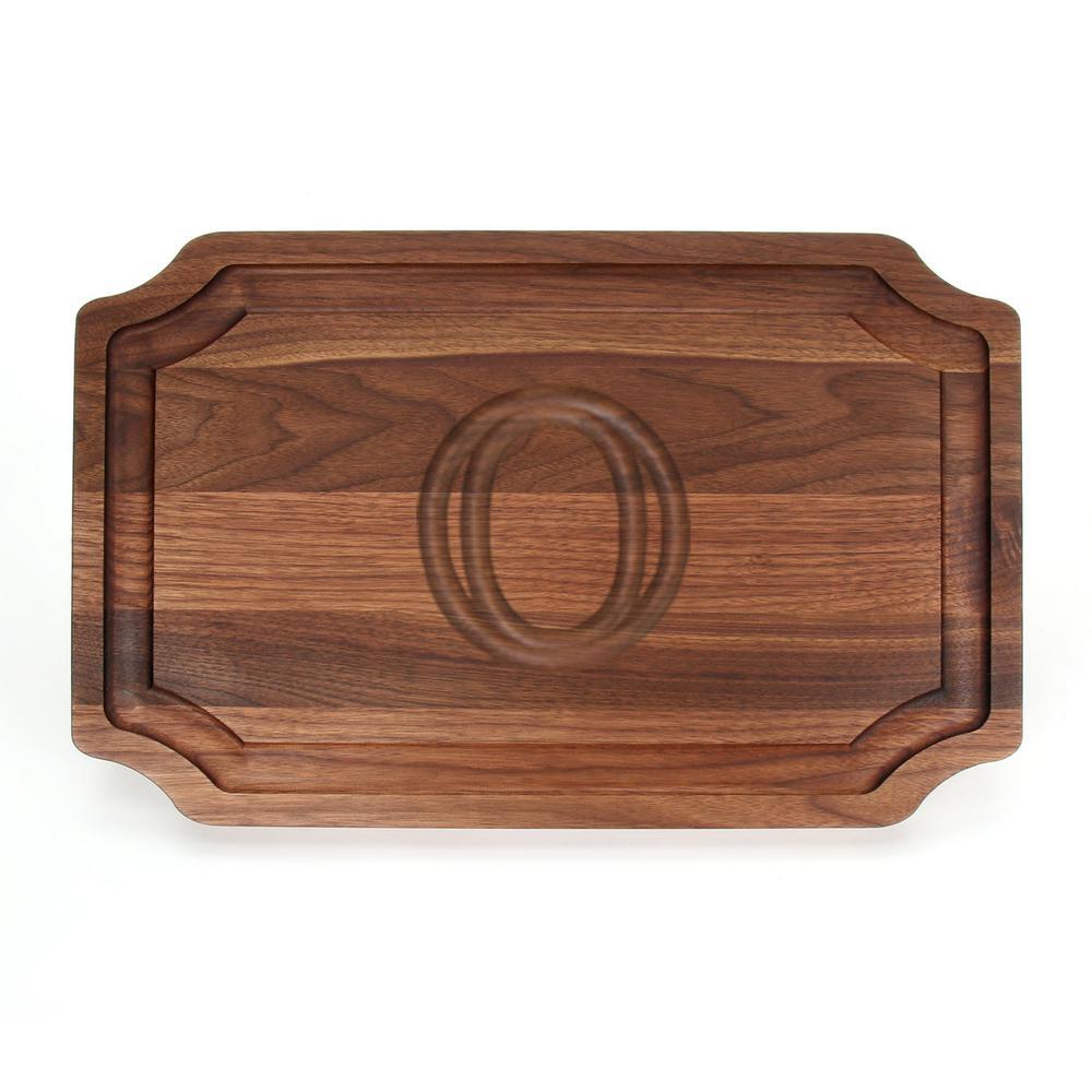 Selwood 1-Piece Walnut Cutting Board with Carved O by