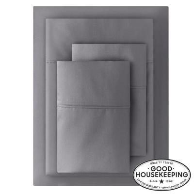 400 Thread Count Performance Cotton Sateen 4-Piece Full Sheet Set in Charcoal