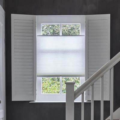 Cut-to-Width White Transparent Polyester Tensioned Pleated 1 in. Cellular Shade - 34.5 in. W x 72 in. L