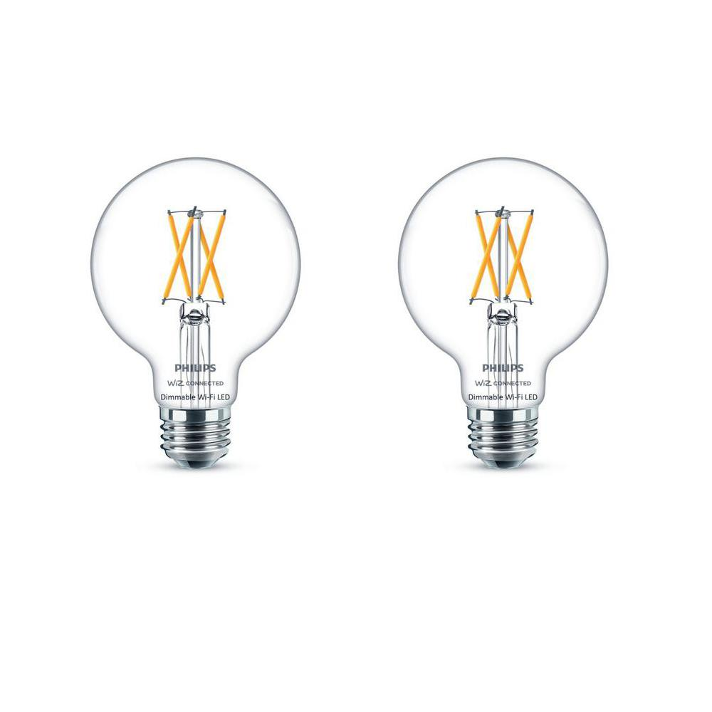Philips Soft White G25 LED 40-Watt Equivalent Dimmable Smart Wi-Fi Wiz Connected Wireless Light Bulb (2-Pack)