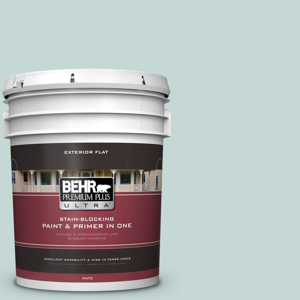 5-gal. #480E-2 Tide Pools Flat Exterior Paint