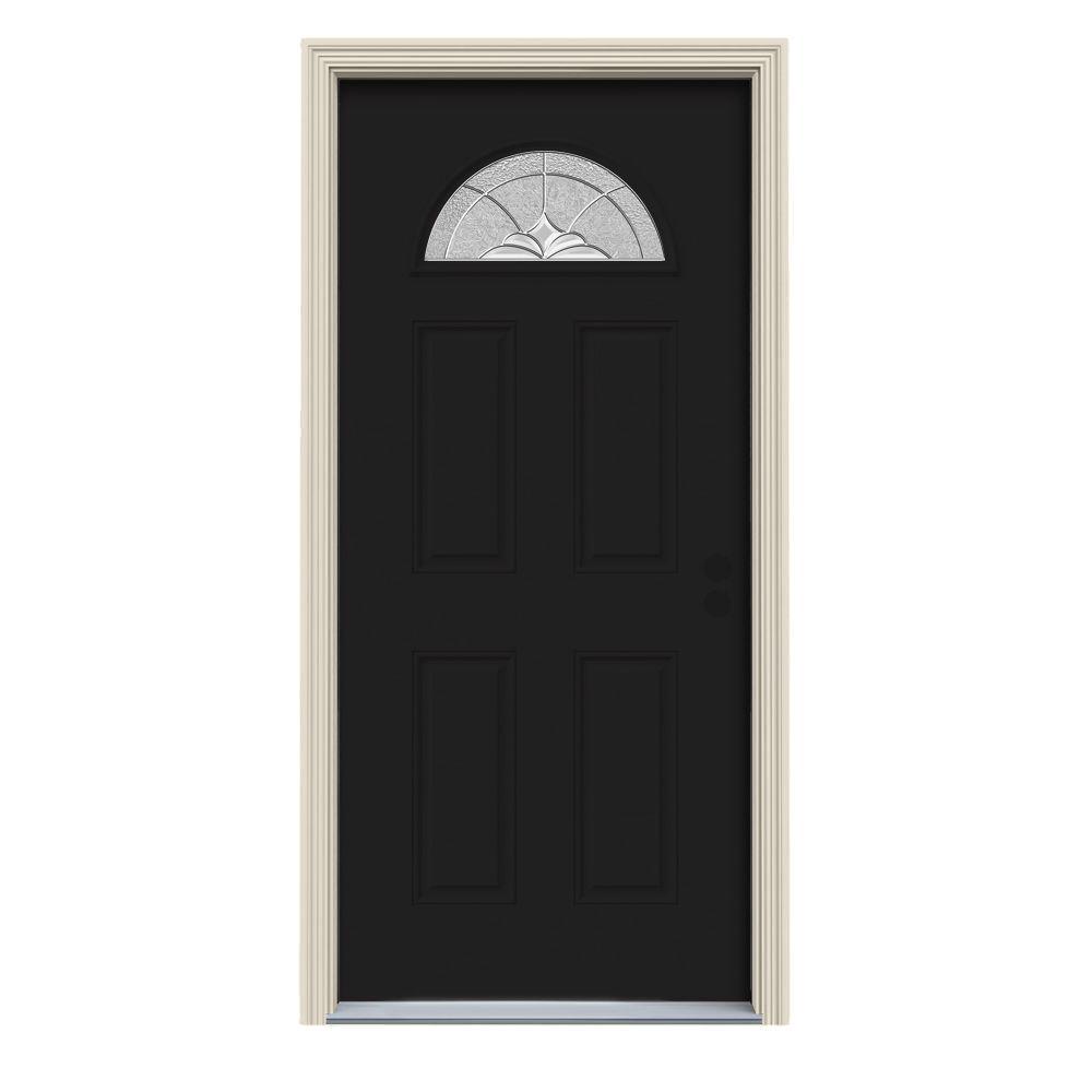 36 in. x 80 in. Fan Lite Langford Black w/White Interior Steel Prehung Left-Hand Inswing Front Door w/Brickmould