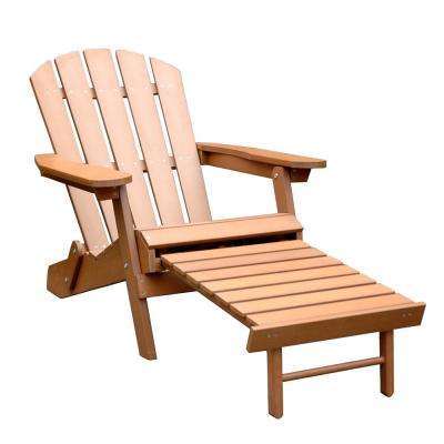 Brown Faux Wood Adirondack Chair with Pullout Ottoman