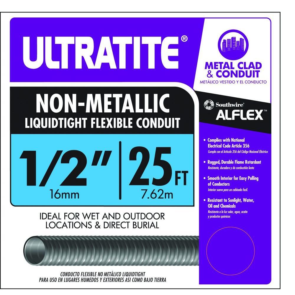 1/2 in. x 25 ft. Ultratite Liquidtight Flexible Non-Metallic PVC Conduit