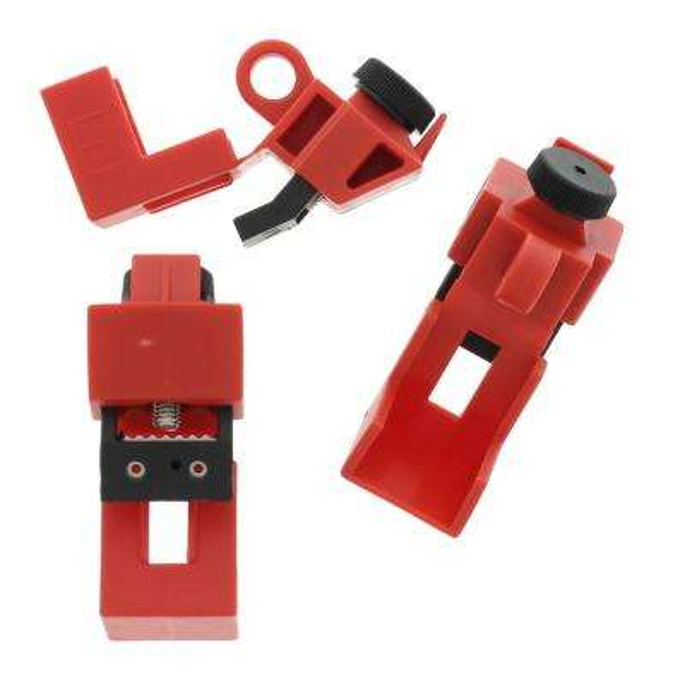 Universal 120-277-Volt Single-Pole Breaker Lockout, Red (3 per Card)
