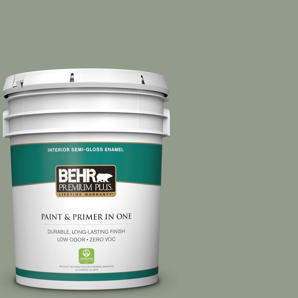 BEHR Premium Plus 5-gal. #PMD-56 Laurel Leaf Zero VOC Semi-Gloss Enamel Interior Paint