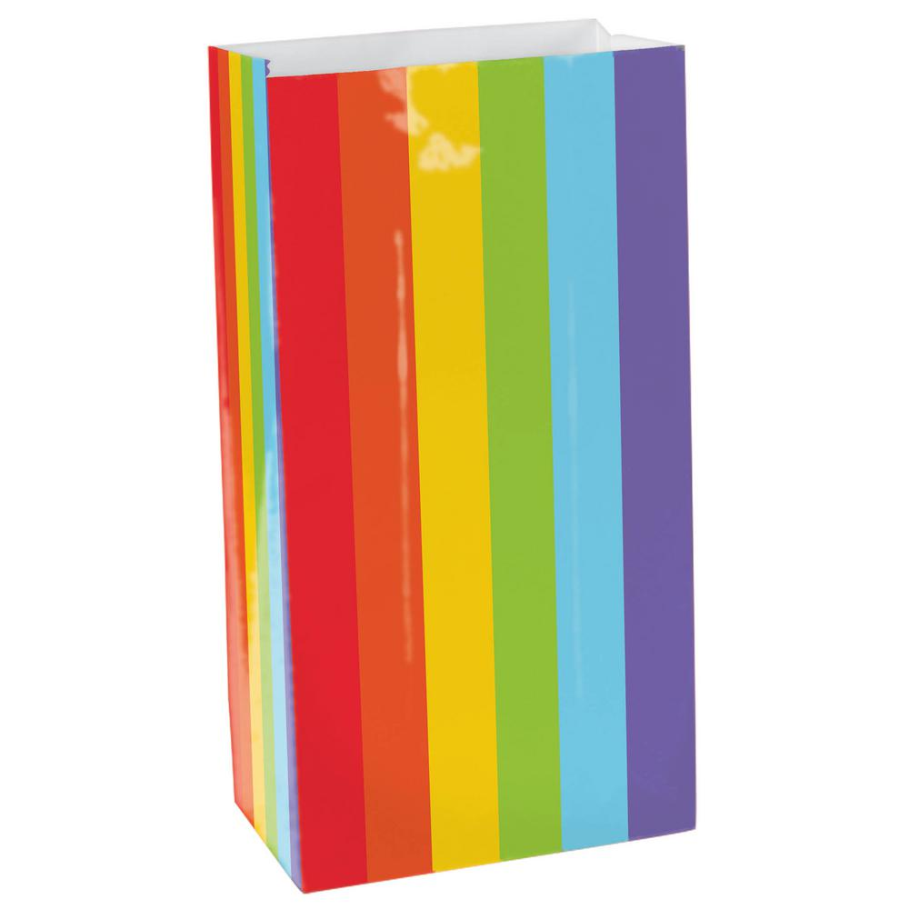 10 in. x 5.25 in. Rainbow Paper Bags (12-Count, 9-Pack)