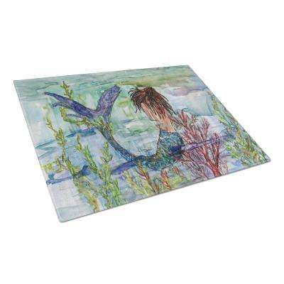 Brunette Mermaid Coral Fantasy Tempered Glass Large Cutting Board