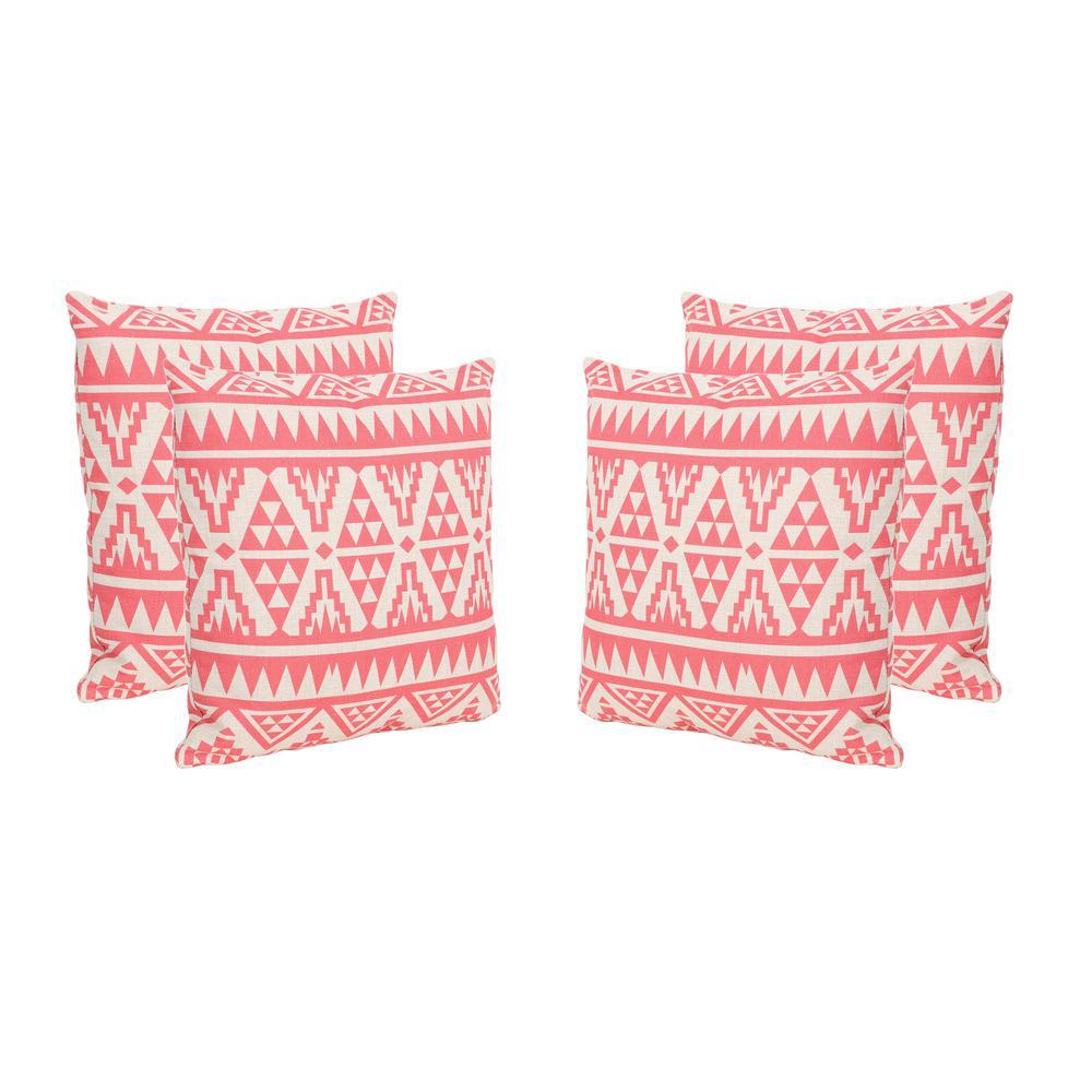 Caroline Pink Square Outdoor Throw Pillows (Set of 4)