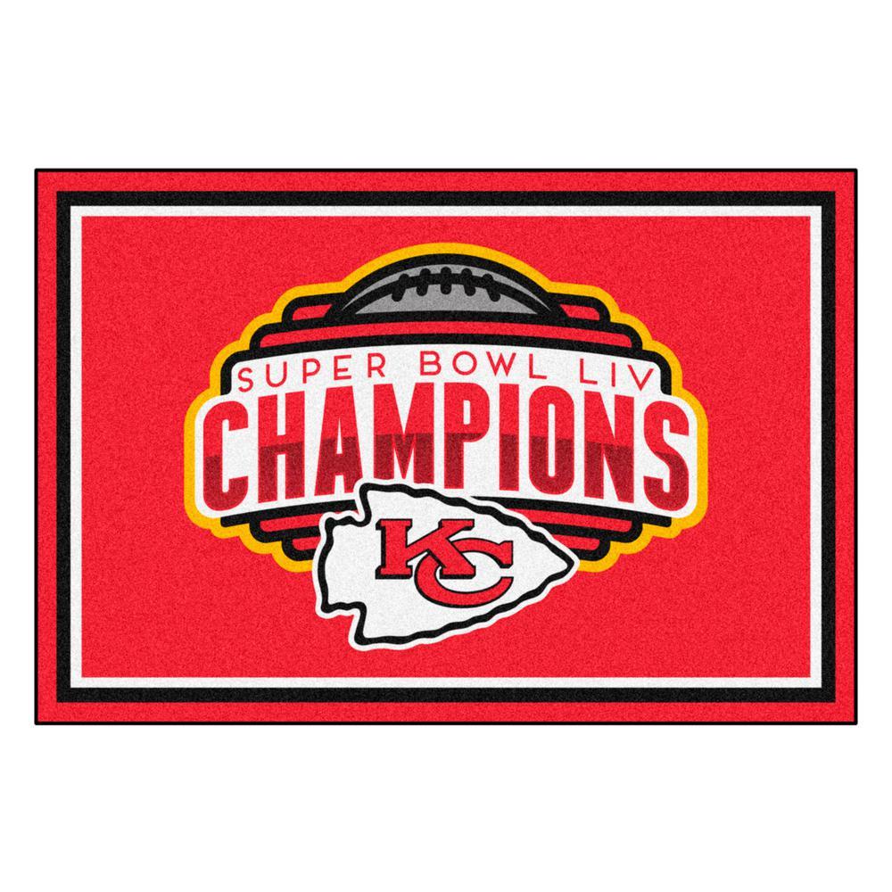 NFL - Kansas City Chiefs Super Bowl LIV Champions Red 5 ft. x 8 ft. Plush Area Rug