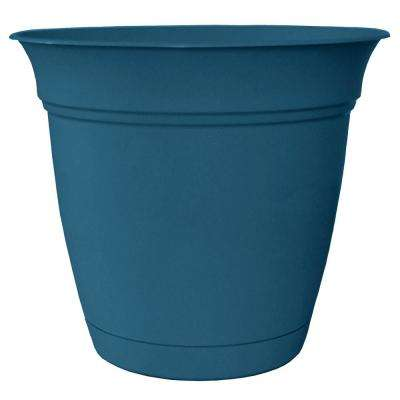 Belle 12 in. Dia. Peacock Blue Plastic Planter with Attached Saucer