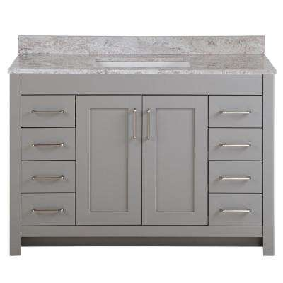 Westcourt 49 in. W x 22 in. D Bath Vanity in Sterling Gray with Stone Effect Vanity Top in Winter Mist with White Sink