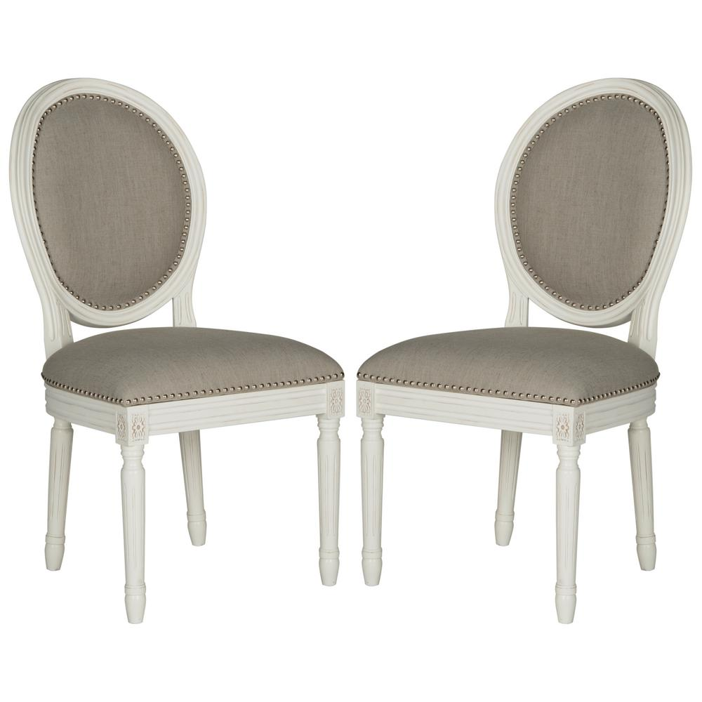 Safavieh Holloway Light Gray/Cream 19 In. H French Brasserie Linen Oval  Side Chair
