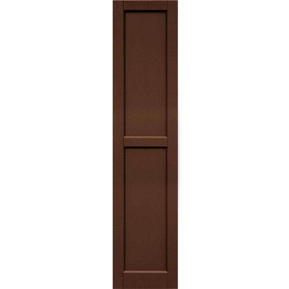 Winworks Wood Composite 15 in. x 67 in. Contemporary Flat Panel Shutters Pair #635 Federal Brown