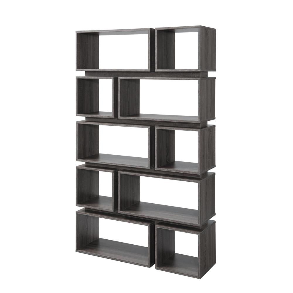 Furniture of america gari distressed gray bookcase