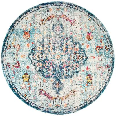 Safavieh Madison Navy Light Blue 5 Ft X 5 Ft Round Area Rug Mad447k 5r The Home Depot