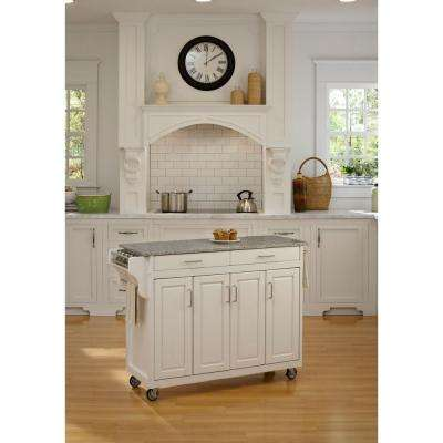 Create-a-Cart White Kitchen Cart With Salt and Pepper Granite Top