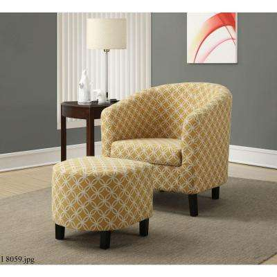Burnt Yellow Cotton Arm Chair with Ottoman