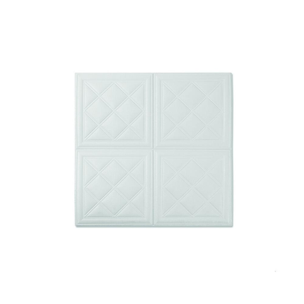 Ejoy New White 3D 4SquareDiamond PE Foam LeatherLook Sticker For Wall Decor (28 in. x 28 in. per Piece, 20-Piece) was $88.99 now $36.7 (59.0% off)