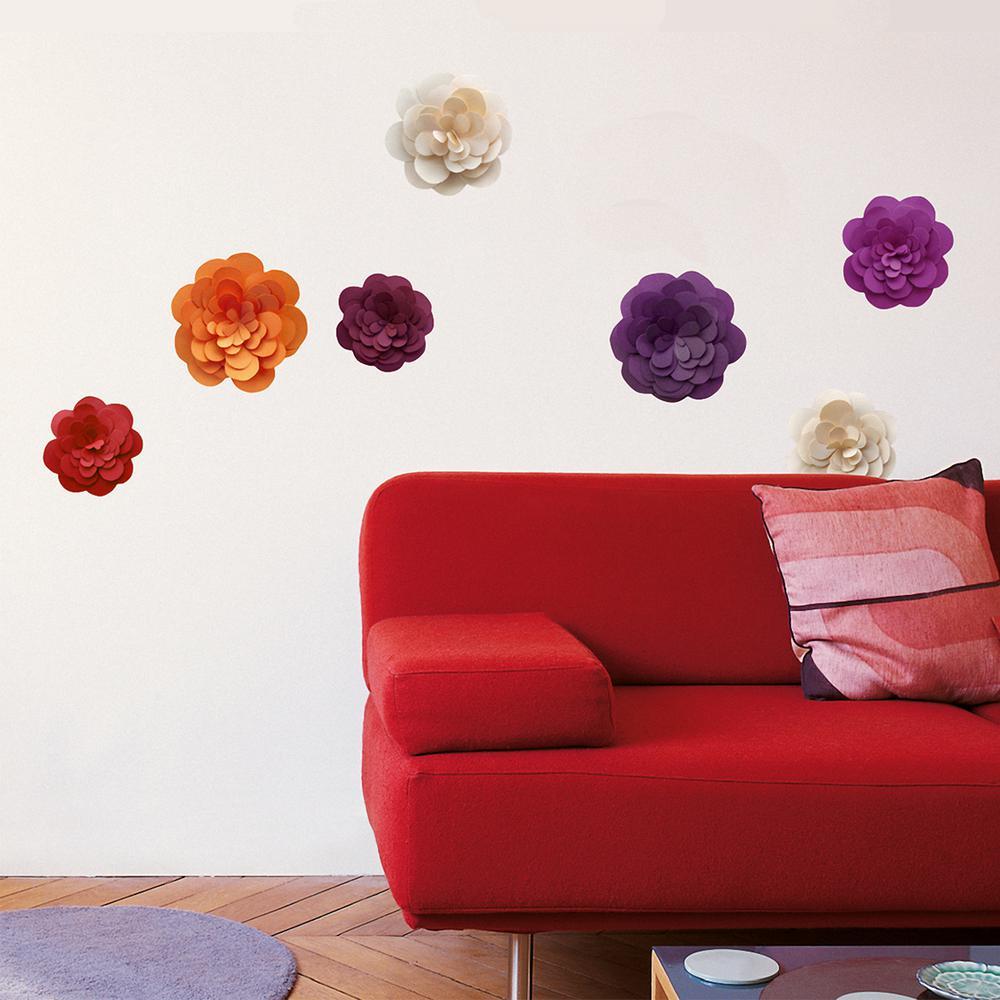 Nouvelles Images Multicolor Paper Flowers Mini Wall Decals Host 1942