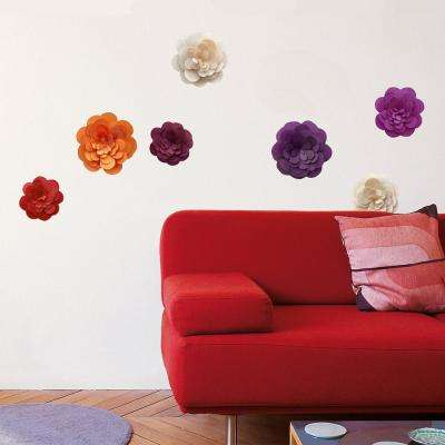 Multicolor Paper Flowers Mini Wall Decals